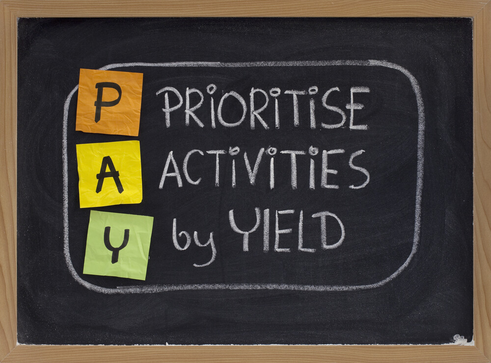 Prioritise by yield - Life Coach London Hans Schumann